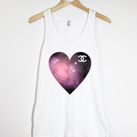 Space Pattern Heart Chanel - American Apparel Unisex  Fine Jersey Tank Top