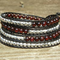 Beaded Leather 4 Wrap Bracelet with Garnet Red Stone and Silver Czech Glass Beads on Black Leather