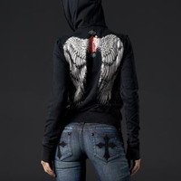 Angel Wings Hood Stones Blk