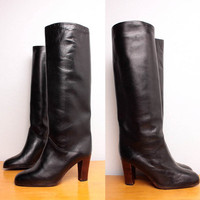 Vintage 70s Knee High Black Leather Boots Size by pineapplemint