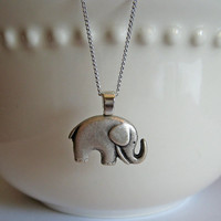 Antiqued Silver Elephant Necklace - Lucky