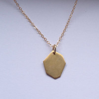 Septagon necklace, brass geometric necklace