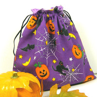 Halloween Reusable Drawstring Bag, Small Knitting Project Bag - Eco-friendly Gift Pouch Child Purple Orange Pumpkin Cat Bat Web - Sac coton