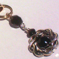 Black Czech Glass w/ Silver Tone Celtic Braid Phone / Purse Charm