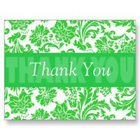Thank You Transparent Green Damask (Customize) Postcards
