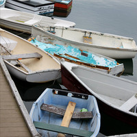 Rockport Row Boats Docked 8inx10in Photograph, Nautical Photography, Wood Dock, Rockport, MA,