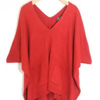 V-Neck  Bat sleeve red irregular pullover  Bat sleeves Pop  style zz91603901 in  Indressme