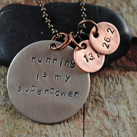 Mixed Metal Running Superpower Pendant in Nickel Silver with two Copper Distance Charms on a Ball Chain Necklace