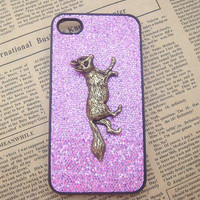 Steampunk Fox Purple bling glitter hard case For Apple iPhone 4 case iPhone 4s case cover