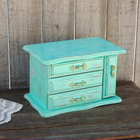 Shabby Chic Jewelry Box, Mint Green, Gold, Upcycled, Hand Painted, Waxed, Wood
