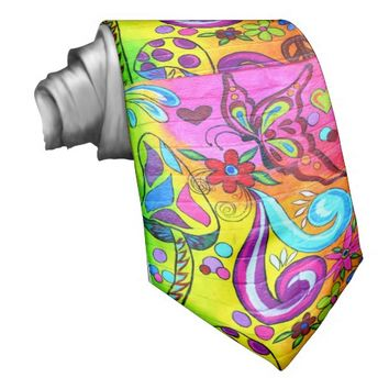 groovy colors hippi-style flowers mushrooms tie