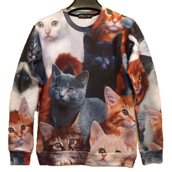 Adorable Kitty Cat All Over Collage Graphic Print Pullover Sweatshirt Sweater | Gifts for Cat Lovers - One