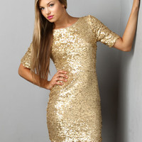 Global DJ Gold Sequin Dress $79.00