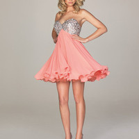 2011 Homecoming Dresses! Evenings By Allure - Coral Chiffon &amp; Sequins Babydoll Strapless Sweetheart Homecoming Dress - Unique Vintage - Bridesmaid &amp; Wedding Dresses