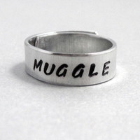 Harry Potter Inspired Skinny Ring - MUGGLE - Hand Stamped Aluminum Wraparound Ring
