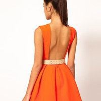 Aqua Floyd Dress Structured Skater with Metal Section Belt at asos.com