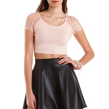 Lace Shoulder Crop Top by Charlotte Russe - Blush