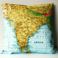 INDIA map cushion organic cotton 16 inch 41cm by mybeardedpigeon