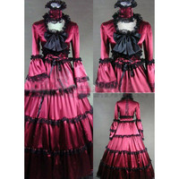 Noble Long Sleeves Bowknot Lace Multi-Layer Red Gothic Victorian Dress Fancy Dress [TQL120427030] - £64.59