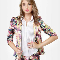 Cute Floral Print Blazer - Satin Blazer