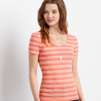 Aeropostale  Map to Mars Stripe Ribbed Bodycon Top