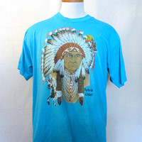 Vintage 80s Epic NATIVE AMERICAN CHIEF Mens Womens Screen Stars Tshirt