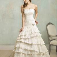 A-Line Strapless Crystal Taffeta Chapel Train Wedding Dress at Dresseshop