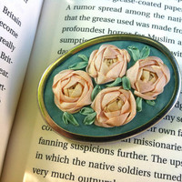 Green and Peach Embroidered Silk Roses Brooch - Silk RIbbon Embroidery by BeanTown Embroidery