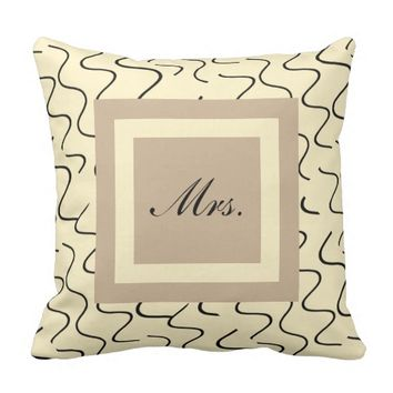 Elegant His/Hers Pillows, Cream/Taupe, Mr & Mrs