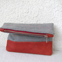 Fold over clutch - Leather bottom and Vintage Wool Fabric