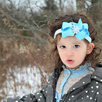 Blue Bow Headband, Snowflake Headband, Boutique Headband, Winter Headband, Blue Headband, Toddler Fashion, Kids Headband, Stacked Bow