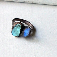 Labradorite Copper Ring Gem Stone Natural Raw Patina Handmade For Her Artisan
