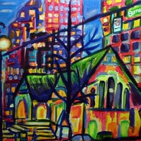 "ORIGINAL Acrylic City Lights Painting Where Old Meets New 14"" x 18"""