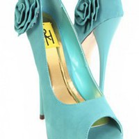 Blue Faux Leather Flower Peep Toe Platform Pump