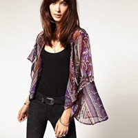 Band of Gypsies | Band Of Gypsies Paisley Stripe Kimono Jacket at ASOS