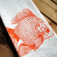 Screen Printed Organic Cotton Goldfish Flour Sack Tea Towel - Awesome Kitchen Towel for Dishes