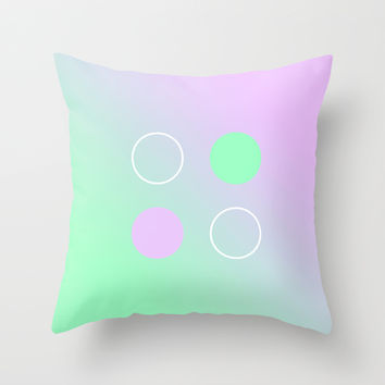 Purple Green Circle Throw Pillow by Gretchen M.