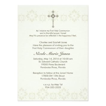 Communion Ornate Cross with floral band Invitation