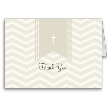 Chevron with Ribbon Communion Thank You Card