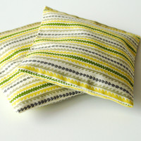 Green and Yellow Striped Organic Lavender Pillows Set of 2 Summer Sachets
