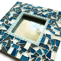 Mosaic Mirror Blue and Gray
