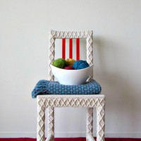 White Accent Chair, Home Office Chair, Upcycled Furniture, Crochet Home Decor, Eco-Friendly Fiber Ar