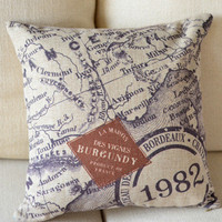 Vintage Map Decorative Pillow [080] : Cozyhere