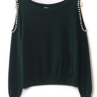 Beaded Strapless Green Sweater S002712