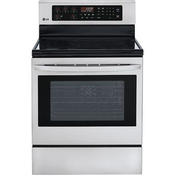 "LG - 30"" Self-Cleaning Freestanding Electric Convection Range - Stainless-Steel"