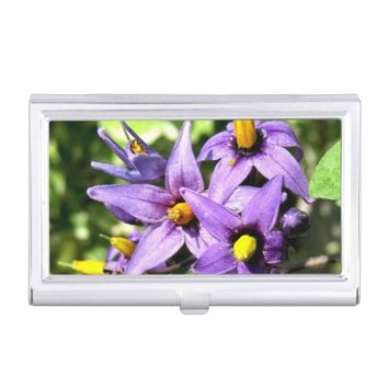 Purple Flowers Business Card Holder