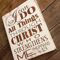 Scripture Sign, Kitchen Sign &quot;I can do all things through Christ who strengthens me&quot; - typograpy subway art style handpainted sign