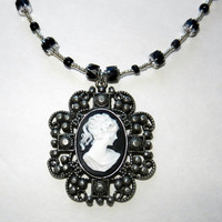 Cameo Charm Necklace with Silver and Black Beading