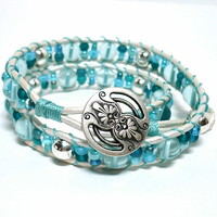 Aqua Quartz and Teal Beaded White Leather BOHO Double Wrap Bracelet