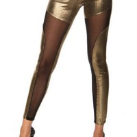 Intimates21 - Sexy Stylish See-through Spliced Punk Rock Gold Metallic Tight Pants Leggings